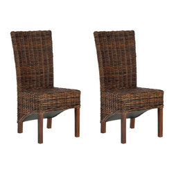 Safavieh - Ridge Side Chair - A familiar, elegant dining room form gets updated in the Ridge side chair, crafted of rattan and sustainable mango wood and shown in tropical dark brown finish. Organic rattan wraps around a tall, gently tapered backrest and seat; shorter rear legs and exposed underbelly offer yet another contemporary twist.