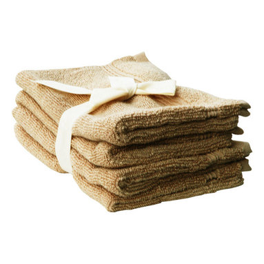 SHOO-FOO - Bundle of 4 Bamboo Bath Mitts - Latte Brown - A European style'bath mitt'sized at 15 x 20 cm (6 x 8 in). Makes a great soft loofah for a daily, gentle body scrub cleansing that won't over exfoliate your skin. Moms love it for babies and children!