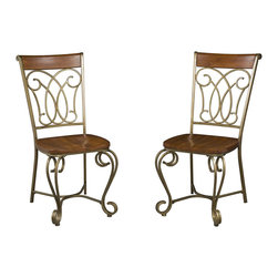 """Home Styles - Home Styles St. Ives Dining Side Chairs in Cinnamon (Set of 2) - Home Styles - Dining Chairs - 5051802 - The St. Ives Dining Chair encompasses traditional Country French design with a warm Cinnamon Cherry finish over poplar solids and intricately designed metalwork finished in a Brushed Antiqued Brass finish.  Nylon glides on all four legs prevent damage to floors caused by movement.  Seat height measures 18"""" from the floor. Size:  17.5 x 21.75 x 39 Sold two per pack."""