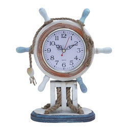 Benzara - Wood Clock in Nautical Theme with Sailor Wheel Frame - Contemporary designed and easy to maintain, this fascinating wooden clock livens up your home decor and enhances its ambience with a positive vibe. Packed with features that recreate the nautical atmosphere, this clock is skillfully crafted and perfectly finished. The high quality wood used to construct this stylish clock stays strong and durable with time. The clock itself is designed in such a way that it seems fixed in the sailor wheel. The sailor wheel with the clock sits comfortably on a small ramp like stand that has a broad base offering great balance. The sailor wheel is tied with rope and has a clam clinging to it bringing about a sailing ambience. The brown rim of the clock holds a bright white dial inside, which is covered with a protective glass covering. The dark hands and modern numeral display add to the attractive appeal of this elegant clock.