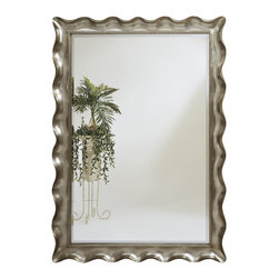 Bassett Mirror - Silver Leaf Decorative Shaped Floor Mirror - Silver Leaf with Bevel - Rectangle Leaner. Measures: 59 in. W x 83 in. H. Weight: 92 lbs