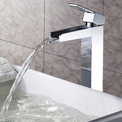 Bathroom Sink Faucets - Solid Brass Waterfall Bathroom Faucet - Chrome Finish (Tall)--faucetsmall.com