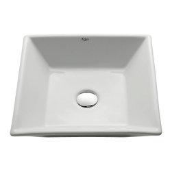Kraus - Kraus White Square Ceramic Sink - *Add an elegant touch to your bathroom with a Kraus ceramic washbasin