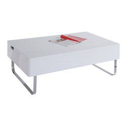 White Line Imports - 43 in. Coffee Table in White - Wipe clean with a dry cloth. Table top lifts to storage area and closes for a sleek coffee table. Made from chrome. No assembly required. 43 in. W x 26 in. - 32 in. D x 15 in.- 20 in. H (75.00 lbs.)