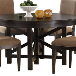 Liberty Furniture - Liberty Furniture Visions 72x54 Oval Dining Table in Mocha, Dark Wood - The Visions collection offers contemporary styling with a comfortable rustic edge. Great design offers flexibility for today's living spaces. The case pieces feature picture frame, beveled moldings with exposed parting rails for added dimension. Tapered block feet are accented with a bottom stretcher for the base of the cases. Custom designed pewter bar pull twist hardware delivers a distinctive look combined with the waxed dark mocha finish. Architectural lines with casual looks highlight the tables. Fancy face 4 way match veneers accent the table tops. Two chair options feature a splat back with tapered panels and legs, or a low profile upholstered back; both in a brown multi chenille fabric. What's included: Dining Table (1).