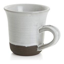 Studio Dark Clay Large Mug - Solid stoneware glazed milky white, banded and textured with a wax-resist technique that exposes unglazed colors of natural clay, stone grey, brown and terracotta. Designer Jono Pandolfi, whose table settings grace the tables of leading New York restaurants, returns to his roots as a potter to create the artisan-inspired iconic shapes of a mix-and match-dinnerware array that upgrades the look of casual.