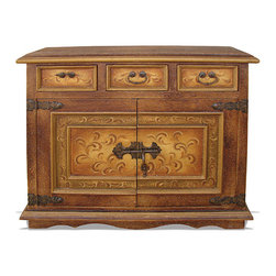 Crackle Sideboard, Fresco Brown Crackle with Pearl Green and Gold Scrolls - Crackle Sideboard, Fresco Brown Crackle with Pearl Green and Gold Scrolls