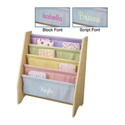 KidKraft - KidKraft 4 Shelf Pastel Colored Sling Bookshelf with Personalization - W14225-1 - Shop for Childrens Bookcases from Hayneedle.com! Encourage a love of reading with the KidKraft 4-Shelf Sling Bookshelf - Pastel Colors which displays the front covers of books instead of the spines so small children can quickly spot a favorite story... or discover a new one. Sling-style canvas shelves in pretty pastel hues accommodate books of almost any size. The sturdy wide MDF frame won't tip and is the perfect height for young readers.About KidKraftKidKraft is a leading creator manufacturer and distributor of children's furniture toy gift and room accessory items. KidKraft's headquarters in Dallas Texas serves as the nerve center for the company's design operations and distribution networks. With the company mission emphasizing quality design dependability and competitive pricing KidKraft has consistently experienced double-digit growth. It's a name parents can trust for high-quality safe innovative children's toys and furniture.
