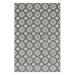 "Loloi Rugs - Loloi Rugs Oasis Collection - Grey / Ivory, 3'-11"" x 5'-10"" - Boldly designed and brightly colored, our Oasis Collection transforms any outdoor space into a modern patio paradise. This collection is power loomed in Egypt, ensuring precision in color and design for each and every piece. And because the 100% polypropylene yarns are specially tested to withstand UV rays and rain, it's the perfect all-weather rug."
