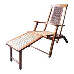 Antique Steamer Deck - Fabulous 1920's antique wood folding steamer deck chair. Folding chair with adjustable back and footrest.