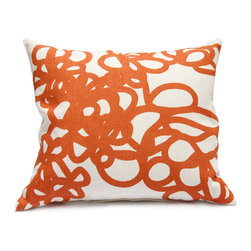 "Area - Daisy Pillow in Orange - Area - Soft graphic loops. Grey printed on off white pure linen with feather & down-filled insert. 16"" x 21"""