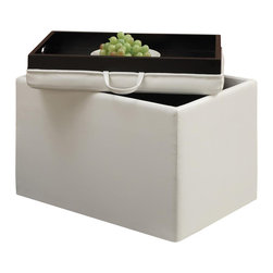 Convenience Concepts - Accent Storage Ottoman - Reversible tops. Providing additional storage. Removable lid provides easy access and serves as a tray. Ideal for home office or student. Limited warranty. Made from PVC. Ivory color. No assembly required. 23 in. L x 15.7 in. W x 15.7 in. H (14 lbs.)You'll be sure to enjoy it for years to come.