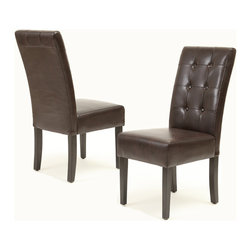 Great Deal Furniture - Addison Brown Leather Dining Chairs (set of 2) - These chairs are beautifully crafted out of bonded leather and high-quality hardwood frame and legs. This set makes a wonderful addition to any dining room with it's rich color and unique button tufting on the backrests. The soft cushion and slightly arched backrest make for an enjoyable seat. They can also function as additional seating for guests in any room.