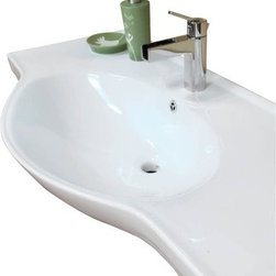 Bellaterra Home 40.5W x 20.1D in. Ceramic Integral Sink Vanity Top - The voluptuous Bellaterra Home 40.5W x 20.1D in. Ceramic Integral Sink Vanity Top showcases elegant curves and grand counter space. This white ceramic piece is easy to install and fits directly on top of your existing cabinet making it ideal for a bathroom remodeling. The extraordinary bowl breaks the geometric shape of the countertop and gives your decor a remarkably modern look and a vanity top that's as beautiful as it is durable. This extra-large bowl sinks an impressive 6.5 inches deep to give you a comfortable space to wash up. A pre-drilled hole allows for effortless installation of a single slot faucet and the bowl itself also comes with a built-in overflow for less mess and added convenience. Faucet, backsplash, and drain are all sold separately.About BellaterraBy combining novel manufacturing processes with traditional craftsmanship and rigorous inspections, Bellaterra retains an unblemished reputation for fine quality and customer service. For over 15 years, the owners of Bellaterra have made certain that production is meticulously managed, from choosing materials to the impeccable construction. All-wood finishes prevent humidity and water damage, ensuring all Bellaterra products remain un-warped, unstained, and gorgeous for a lifetime.