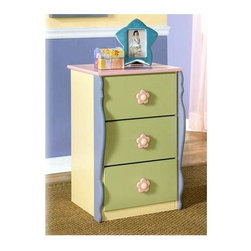 Signature Design by Ashley - Kids 3 Drawer Cabinet w Multicolor Accents - Color/Finish: Pastel. Soft pastel multi-colored green, lavender, pink, and yellow finish. Exaggerated traditional silhouette style for a fun look. Pink and yellow flower motif handles. Side roller glides for smooth operating drawers. 18 in. W x 17 in. D x 28 in. H