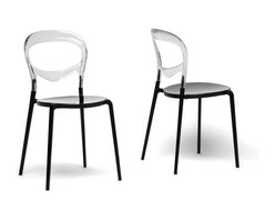 Baxton Studio - Baxton Studio Orlie Black and Clear Colorblock Modern Dining Chair (Set of 2) - Svelte and stylish, our Orlie Dining Chair takes the color block trend to a whole new level! The circular seat is made with opaque black acrylic and is topped with a transparent clear acrylic backrest. You will love the fact that the chair is stackable, making it ideal for small apartments or frequent entertainers. Made in China, the modern dining chairs are fully assembled and should be wiped clean with a wet cloth.