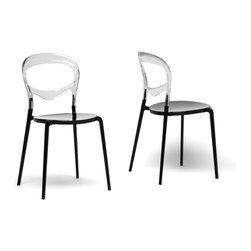 Baxton Studio - Baxton Studio Orlie Black and Clear Colorblock Modern Dining Chair (Set of 2) - Svelte and stylish, our Orlie Dining Chair takes the colorblock trend to a whole new level!  The circular seat is made with opaque black acrylic and is topped with a transparent clear acrylic backrest.  You will love the fact that the chair is stackable, making it ideal for small apartments or frequent entertainers.  Made in China, the modern dining chairs are fully assembled and should be wiped clean with a wet cloth.