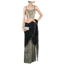 Black draped sari with printed blouse available only at Pernia's Pop-Up Shop.