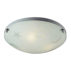 Elk Lighting - Elk Lighting 5088/3 Novelty Children's Flush Mount Ceiling Light in Satin Nickel - Elk Lighting 5088/3 Novelty Children's Flush Mount Ceiling Light in Satin Nickel