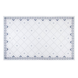 "Huddleson Linens - Anfa Blue and White Rectangular Tablecloth, 66""x126"" - The finest Italian linen tablecloth with a blue and white Moroccan tile motif and interlocking chain border.  This elegantly simple design looks wonderful in a formal or casual setting. Machine washable."
