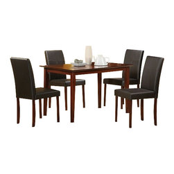 "Acme - 5-Piece Jando Cherry Finish Wood Dining Set with Leather-Like Upholstery - 5-Piece Jando cherry finish wood dining table set with leather like upholstered seats and backs. This set includes the table and 4 side chairs. Table features a cherry finish wood and the chairs are upholstered with a leather like upholstery. Table measures 30"" x 46"". Chairs measure 35"" H to the back. Some assembly required."