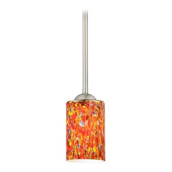 Modern Mini-Pendant Light with Cylinder Art Glass Shade -