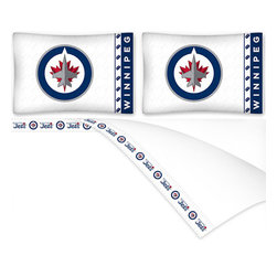 Sports Coverage - NHL Winnipeg Jets Hockey Queen Bed Sheet Set - Features: