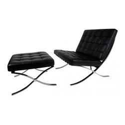 IFN Modern - Barcelona Chair & Ottoman Reproduction - Italian Leather, Black - Our Barcelona Chair reproduction was inspired by Mies Van Der Rohe's mid-century furniture. The main source of inspiration for this piece comes from the 1929 German Pavilion where Mies and Lilly Reich showcased a gorgeous chair now known worldwide as the Barcelona Chair. With the addition of a matching ottoman which can also be used as a standalone stool for sitting, the set brings class and elegance to any setting it is in.