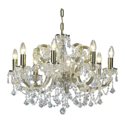 """Inviting Home - Maria Theresa Crystal Chandeliers (Premium Crystal) - clear and gold Maria Theresa style crystal chandelier; 25"""" x 19""""H (8 lights); assembly required; 8 light clear and gold Maria Theresa premium style crystal chandelier with hand-molded arms and cut crystal trimmings; all metal parts have pained gold finish; genuine Czech crystal; * ready to ship in 2 to 3 weeks; * assembly required; This chandelier is a part of Maria Theresa Collection. At their start the chandeliers bearing the name of Maria Theresa were made on the occasion of the Empress's coronation as queen of Bohemia in 1743. This fact is hidden in the shape of these lighting fixtures reminiscent of the royal crown. Their characteristic feature is the arms' typical flat surface clad with glass bars. The bars are fixed to the arms by glass rosettes and beads with dangling cut crystal chandelier trimmings. These ravishing fixtures were inspired by a chandelier made for Maria Theresa in Bohemia in the mid 18th century. However not only the empress became fond of it; so did many others who fancied the style and the majestic manners after her. Typical elements are metal arms overlaid with glass bars and decorated with crystal rosettes. Originally the trimming was made of typical flat drops called """"pendles"""". Today trimmings of various shapes are used. Premium crystal. A sumptuous type of chandelier trimmings. Fire of the rainbow spectrum brilliance limpidity glitter and perfect scattering and dispersion of light - these are their main features resulting from precise cutting using electronically controlled machines but also from high quality crystal containing more then 30% of lead. Traditional mastery and the revealed mystery of the glass substance blend together with modern technologies and first-rate design in each of these unique pieces. Chandeliers dressed with these trimmings of exceptional beauty will lend an air of grandeur to the ambiance even of the most prestigious interiors. Every compon"""