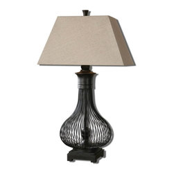 Uttermost - Uttermost 26588  Horatio Metal Cage Table Lamp - Curved metal cage with a rustic black finish. the tapered rectangle hardback shade is an oatmeal linen fabric with natural slubbing.