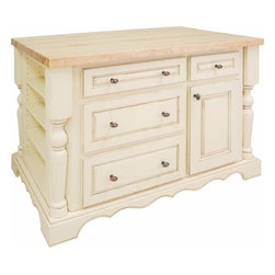 Jeffrey Alexander - Jeffrey Alexander Entertaining White Kitchen Island 53-1/2 x 33-1/2 Inch - Jeffrey Alexander 52 1/2 Inch x 32 5/16 Inch x 34 1/4 Inch furniture style island is manufactured using the highest quality furniture grade hardwoods and MDF. The island features four working drawers and cabinet storage on one side fixed shelves with three removable wine racks on the reverse side and fully adjustable spice shelves on both ends. Additional wine racks sold separately. The included decorative hardware can be found in Jeffrey Alexander Lyon collection (3991). Antique White finish is applied by hand. Coordinating posts are available in our carved wood (P6). 1 3/4 Inch hard maple edge grain butcher block top sol separately (ISL01 TOP  54 Inchx34 Inch). Overall Dimensions: 53 1/2 Inch x 33 1/2 Inch x 34 1/4 Inch  Dimensions taken from the widest point Finished in Antique White (finish applied by hand)  All Materials used meet California CARB2 Requirements