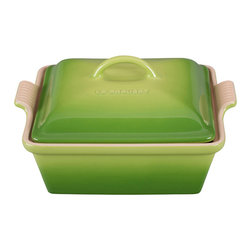Le Creuset - Le Creuset Heritage Stoneware 2 Quart Covered Square Casserole, Fennel Green, 2. - Le Creuset stoneware casseroles offer superior, highly functional performance in the oven and at the table. These durable stoneware dishes include tight-fitting lids and easy-to-grip grooved side handles, and are designed for a multitude of kitchen tasks, whether baking desserts, oven-roasting meats, broiling fish or simply marinating before cooking.