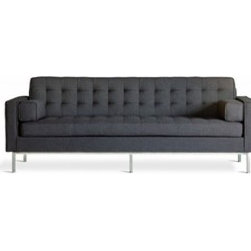 Gus Modern - Gus Modern | Spencer Sofa - Inspired by iconic design of the mid-century, the Spencer Sofa is a piece unto itself. Blind-tufted seat and back  cushions paired with a stainless steel base make the Spencer Sofa a stylish choice for any living space. Paired with  the Spencer Chair, the Spencer Sofa brings style to a space without sacrificing comfort. The Spencer Sofa is available in a variety of different upholsteries.