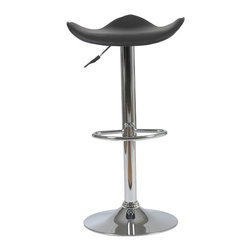 Eurostyle - Fabia Bar/Counter Stool-Black/Chrome - The fluid design of this stool seems fitting, considering it's for your bar or counter. Let the libation flow as you ride the wave-inspired seating area.