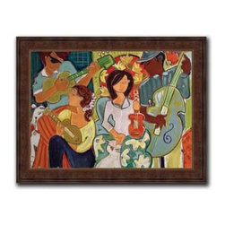 "Ensemble 13x16 Print - ""Ensemble"" is a whimsicle canvas giclee by Christina Hankins. We present this to you in a 3"" dark brazilian panel frame with raised back and lip. This makes for an overall framed size of 13x16."