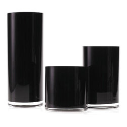 "Accent Decor - Cityscape Glass Vase, Black, 5"" X 12"" - The Cityscape Glass Vase collection offers the perfect modern accessories for your tabletop.  Ranging from 5"" to 12"" high with a 5"" diameter, these clean, straight round vases come in shiny black, glossy white, and clear glass.  Glamorous and understated, each of the Cityscape Glass Vases can stand alone, or used in multiples for a big statement.  Build a sophisticated centerpiece with seasonal flowers in various heights, or use simply as oversized votive candleholders.  The Cityscape Glass Vase Collection is also available in additional sizes up to 51""H; please contact info@mossmanor.com for more details."