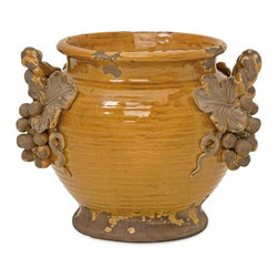 Imax - IMAX 50106 Italia Planter - Weathered ceramic glazed amber Italia planter with grape bunch detail