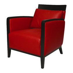 Pastel Furniture - Pastel Elloise Club Chair - Ballarat Black Wood - Top Grain Red Leather - The Elloise club chair in a smart and modern design blends quality, value, style as well as comfort to any room. This chair is upholstered in top grain red with ballarat black wood frame adding not only a stylish and classic look but one with a modern appeal as well.