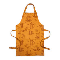 Bambeco Cafe Organic Apron Mango - Made from 100% Organic Cotton and Low-Impact Dyes, the Cafe Apron features inspirations from European cafe elements.  The apron is equipped with an adjustable neck strap, two convenient pockets and generous ties for a custom fit.Available colors: Mango (shown here), Saffron, Sky, Ivory and Chocolate. Care: Machine washable & dryable.