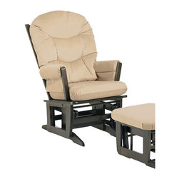 Dutailier - Dutailier Ultramotion Espresso Wood Glider with Microfiber-Fabric Upholstery - Give your living room or office a new lease on life with this beige wood glider. Upholstered in comfortable microfiber fabric,this chair is super comfortable as well as elegant. Simply sit back and relax in this espresso-finished glider.