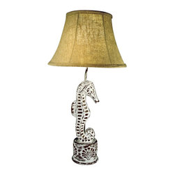 "Lamps Plus - Coastal Sea Horse 27 1/2"" High Table Lamp With Cloth Shade - Celebrating coastal style this impressive table lamp features an intricate sea horse figurine resting atop a stout base. The base is adorned with shell designs and a weathered finish for added charm. A warm hued cloth shade provides a stunning contrast to the neutral tones in the base. From Judith Edwards Designs. Poly resin construction. Sea life inspired design. Cloth bell shade. Push through switch. Takes one 100 watt standard bulb. 27 1/2"" high. Shade is 8 1/2"" across the top 16"" across the bottom 10"" on the slant.  Poly resin construction.   Sea life inspired design.   Cloth bell shade.   Push through switch.   Takes one 100 watt standard bulb.   27 1/2"" high.   Shade is 8 1/2"" across the top 16"" across the bottom 10"" on the slant."