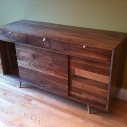 Custom Walnut Sideboard / Credenza by Jeremiah Collection - The beauty of wood shines through in this gorgeous custom walnut sideboard.