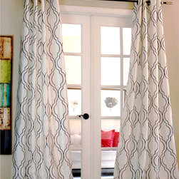 None - Amal Moroccan Flocked Faux Silk Curtain Panel - Featuring a Moroccan inspired intricate flocked tile print,this curtain panel adds a touch of graphic sophistication to your room. This panel is styled after real silk,with a luxuriously soft feel and an elegant appearance.