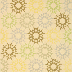 """MSR1843A Martha Stewart Rug - 9'6""""x13'6"""" - The classic geometrics of an American Country Quilt appear refreshingly new in the soft and contemporary Block Quilt. Natural cotton yarns are densely hand-tufted in China to create a loop-pile background and subtle cut-pile motif, enhanced by the muted tonalities of its neutral palette."""
