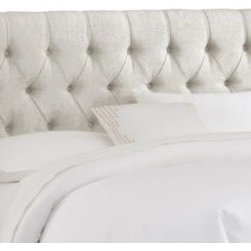 Skyline Furniture - Skyline Furniture Tufted Headboard in Linen Talc - Luxurious, comfortable, and fashionable describe this diamond tufted headboard. It boasts handcrafted diamond tufts upholstered in soft linen. It's constructed with plush foam padding to give you the comfort you are looking for.