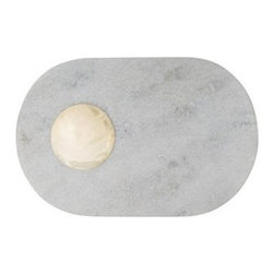 Tom Dixon - Tom Dixon | Stone Chopping Board - Design by Tom Dixon, 2013. Welcome this kitchen tool with staying power to your kitchen and dining areas. The Stone Chopping Board is carved in white Morwad marble board for a surface that can stand up to extreme use and time. Chop, cut and serve on the rounded oval board and tidy up as you go with the delicate brass saucer to collect crumbs or use for dips when serving. The saucer is hand formed in a sheet of brass dish, polished and left unlacquered. Features a brass etched logo on the base. All ECLECTIC pieces arrive in gift packaging that is Graphic, Bold and Confident. Packaging is intentionally intriguing to heighten the experience of the product through anticipation and the ceremony of opening it - be it a gift for another or just for you. Enjoy!