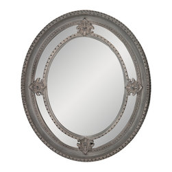 """Enchante Accessories Inc - Framed Oval Wall Mirror 24""""x 28"""" (Silver/Gray) - Polystyrene Framed Oval Wall MirrorDecorative design with a weathered finish for a vintage lookPerfect Foyer MirrorVersatile design that can be hung in any hallway, living room, bedroom, or entrywayMeasures 24 in. x 28 in.Mirrors not only reflect your image, but they reflect your style.  The types of mirrors you choose to hang in your home not only provide function, but act as a great accent piece that shows your sense of style apart and reflects your taste.  Made from durable wood and accented with distressed finishes, beveled edges, and weathered details that give them a rustic, vintage look, these mirrors add beauty to any wall in any room of the house.  Perfect for use in an entry way, a hallway, a dining room, a living room, or a bedroom, these rustic mirrors have that vintage inspired French country look that adds instant charm and casual comfort to any home. For a unique look and an interesting display, hang mirrors of different sizes, shapes, and colors on the same wall.  Mirrors help to add texture and dimension and create the illusion of a larger space.  By hanging multiple mirrors in a small space, you can create interest and increase the perceived size and feel of the space around you.  Available in both rectangular shapes and rectangular shaped frames with oval mirrors in the center, these rustic wood mirrors come in a variety of color finishes that have a neutral appeal and can be easily coordinated with any type of rustic furniture or shabby chic room decor. With the look and feel of a treasured family heirloom, these mirrors are aged and weathered to give them a vintage look and evoke a sense of old fashioned spirit.  Reminiscent of something you may have once seen in a charming country cottage, these wooden mirrors let you check out your own reflection as well as reflect the beautiful room around you.  The antique look makes them the perfect addition to any casual space whil"""