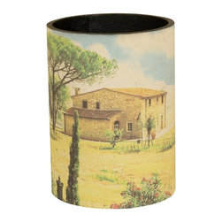 Mario Industries - Tuscany Waste Basket - Wastebasket with tuscany feel. Warranty: One year. 9 in. W x 12 in. H (3 lbs.)Beautiful countryside motif adorns this wastebasket.