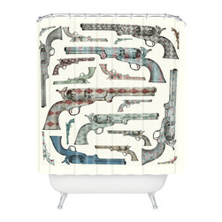 DENY Designs - Belle13 Vintage Pistols Shower Curtain - Who says bathrooms can't be fun? To get the most bang for your buck, start with an artistic, inventive shower curtain. We've got endless options that will really make your bathroom pop. Heck, your guests may start spending a little extra time in there because of it!