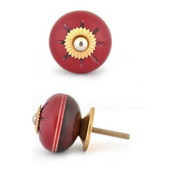 "Knobco - Wooden Knob, Dark Red and Red - Red and dark red design wooden knob with light brown double stripes, perfect for your kitchen and bathroom cabinets! The knob is 1.6"" in diameter and includes screws for installation."